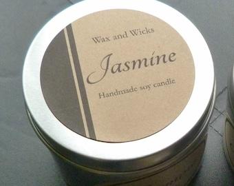 Jasmine soy wax candle tin