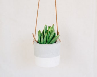Two tone cement hanging planter, succulent planter, grey and white cement