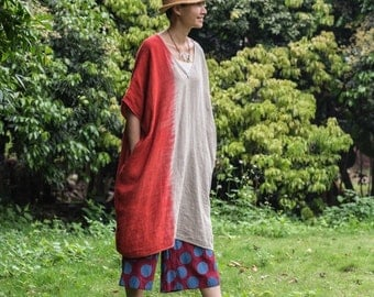 Tie dyed oversized loose linen dress   BonLife