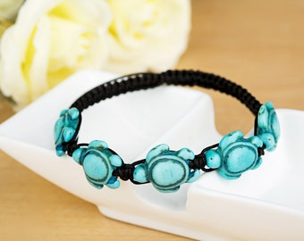 HYBX3302 Free Shipping Braided Blue Turquoise Turtle Cord Bracelet Gift Box packing