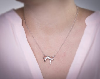 Silver Bow Necklace, Gold Bow, Silver Bow, Ribbon Charm