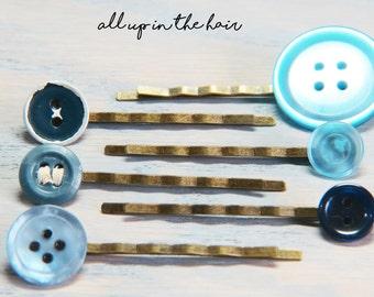 Blue Bobby Pins - Bobby Pin Lot  - Blue Button Bobby Pins