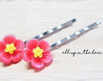 Flower Bobby Pins - Hibiscus Bobby Pins - Tropical Bobby Pins - Red Hibiscus Bobby Pins