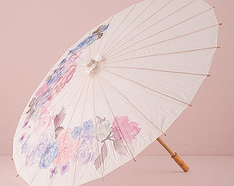 Pretty Vintage Floral Print Paper Parasol Wedding Accessory