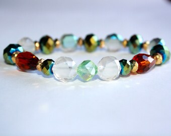 Four toned glassbeaded bracelet