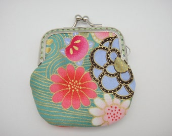 Japanese coin purse, Kiss lock coin purse, Turquoise