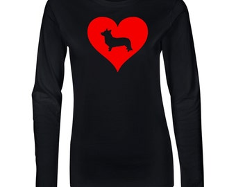 Corgi Love Heart Junior Long Sleeve T-Shirt. Juniors Long Sleeve T-Shirt. Dog Lover Shirt.  64400L
