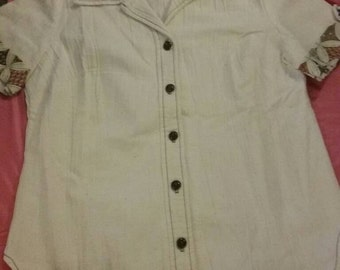 Cute 1970s linen blouse