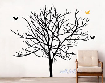 Tree wall decals Winter tree wall decal Tree wall art Giant winter tree wall stencil Tree wall stickers Tree and birds wall decals