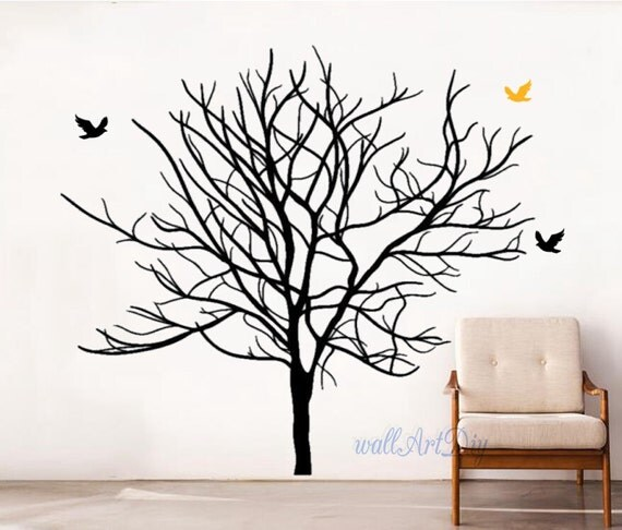 arbre stickers arbre et oiseaux mural muraux au pochoir muraux. Black Bedroom Furniture Sets. Home Design Ideas