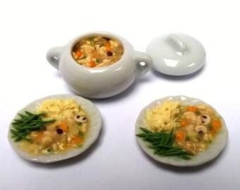 Dolls House Food:  Miniature Food - Porcelain Serving Dish /  Casserole -  CHICKEN Casserole / Chicken stew - Dinner Table Meal