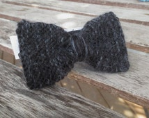 BLACK/GREY fuzzy bowtie for MEN - Men's knitted wool and mohair bowtie - Turquoise Adult bow tie - Prom, wedding, scene accessory -
