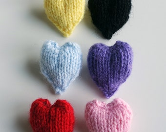Heart Brooches Knitted Brooches Different Colors Hearts Valentine's Day Present Cute Colorful Handmade Accessories