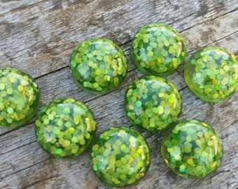 12mm Green Glitter Resin Cabochon