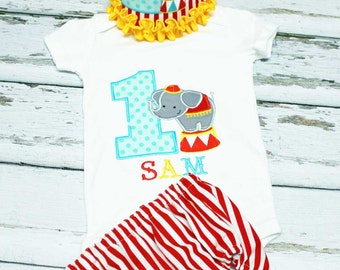 Circus Elephant Birthday Outfit,First Birthday Circus Outfit,Applique Embroidered Onesie Hat