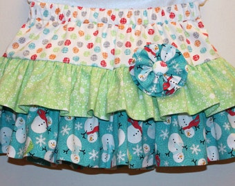 4T - Ruffled, Toddler Winter Twirl Skirt - Ready to Ship