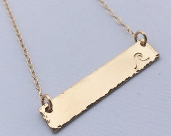 Beach Babe Necklace 14kt Gold Fill or Rose Gold Wave Stamp