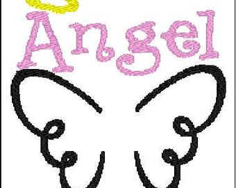 Angel wings with halo embroidery design 4x4