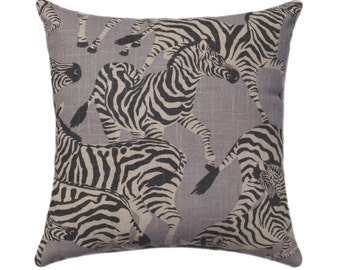 Grey Zebra Zippered Pillow Cover - Zebra Migration - Gray Accent Pillow - Herd Together - Animal Pillow Cover - Zebra Decorative Pillow Case