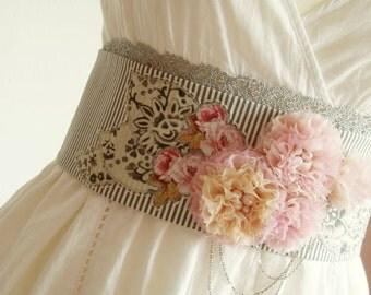 Delicate pastel spring belt, Obi belt, Sash belt, Floral belt