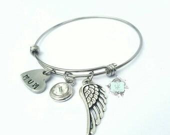 Hand stamped memorial bracelet, memorial jewellery, memories bracelet, memory bracelet, adjustable memorial bracelet, angel bracelet