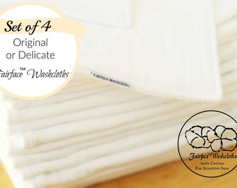 Sensitive Skin Softest Washcloths for best skin care, 100% soft cotton flannel, Set of 4 - Gentle, Non-irritating, Calming Fairface™ Cloths