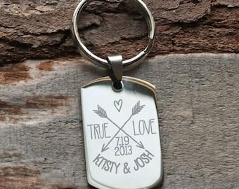 True Love Arrows Personalized Engraved Key Chain