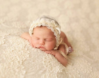 Delicate {Sophia} vanilla lace Bonnet Baby girl Bow Hat Freshwater pearls NB size UK Photography Prop LouLouBoutique