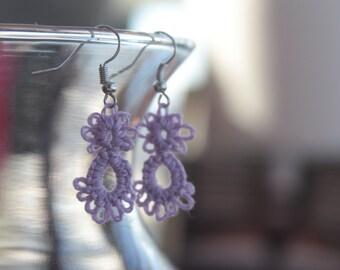 Lavender Handmade oval Earrings
