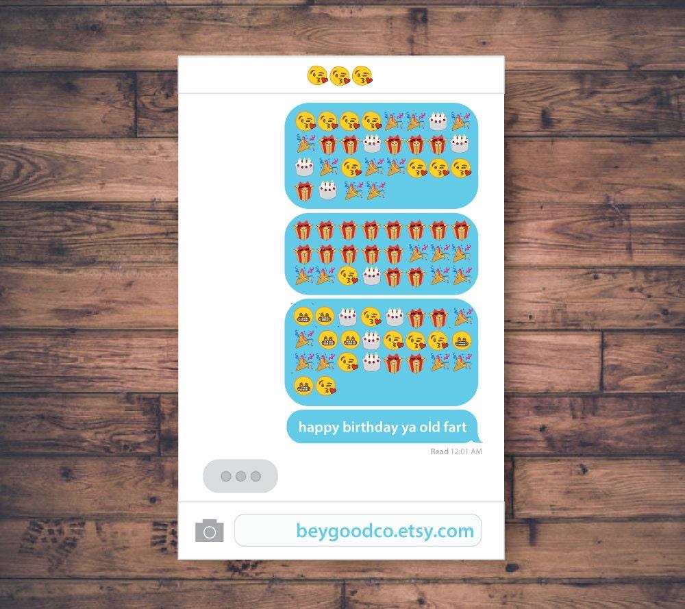 Printable Emoji Birthday Card Happy Birthday Ya Old Fart