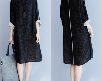 women leisure linen dress/women loose linen dress/women linen dress/women black dress/BJDXGOCT05N153