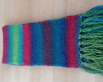 Long, warm and soft scarf, multicolor, 1.25 metres long, 21 cm wide