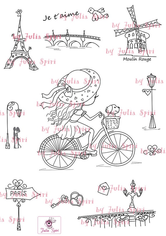 Digital Stamp + bonus elements for cut,  Paris stamps, Parisian girl in bike, Parisian elements, Eiffel Tower. The Paris Collection. Paris.