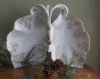 RARE...Vintage  Candsrea, Butterfly Shaped Candy Dish, Trinket dish,Hand Painted, Made In Japan