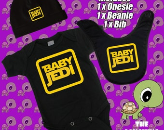 Baby Jedi. Star Wars. Cool. Baby Gift Cotton Romper, Beanie, Bib Combo Deal