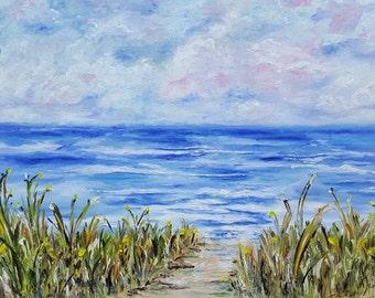 Landscape art Beach art Original art print Landscape print Beach print Seascape painting print Beach décor Nature print Nature art Ocean art