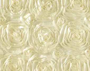 "Ivory Rosette Fabric | Satin Rosette Fabric | Fabric By The Yard 50"" Width"