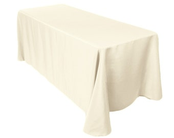 90 X 132 Inch Rectangular Ivory Tablecloth Polyester | Wedding Tablecloth
