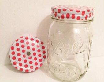 0.75 SALE!! Pink Polka Dot Mason Jar Lid