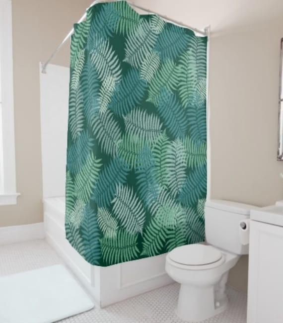 Shower Curtain Fern Leaves On Dark Green
