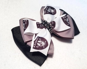 """Oakland Raiders Hair Bow - 4"""" Stacked Boutique Pinwheel Bow with Bling on Partially Lined Clip - Women, Girls, Football, NFL"""