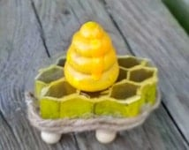 Honeycomb Fairy Coffee Table with Enameled Wooden Beehive