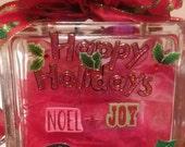 Happy Holiday Christmas Lighted Glass Block Night Light Merry Christmas Lamp Joy Noel Christmas Cheer nite light Christmas Tree Ribbon Bow