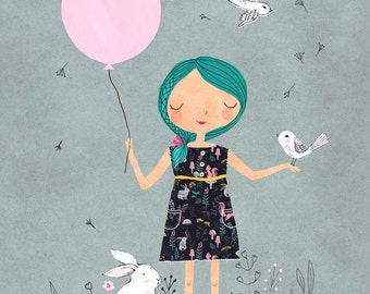 Balloon Girl....Giclee print of an original illustration