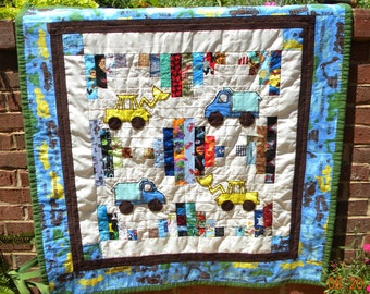 SALE !!! Handmade construction truck quilt/ play mat