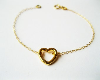 Gold heart bracelet simple gold bracelet, minimalist bracelet, delicate heart bracelet, heart jewelry, simple jewelry, gold dainty bracelet