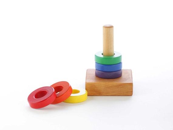 Stacking Rings Toy : Wooden ring stacking toy stocking stuffer baby