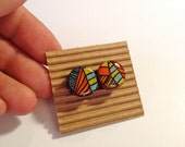 Cute Stud Earrings - Lines and Stripes - Wooden Earrings - Faux Plugs - Colorful Prints