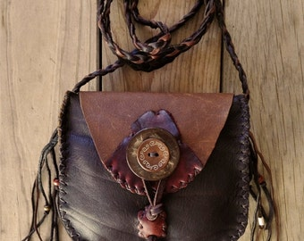 Deerskin Leather Crossbody Sling Pouch with Beaded Fringe, Wood & Coconut Shell Buttons