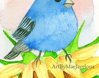 Indigo Bunting on Sunflower, ACEO print of an original watercolor painting